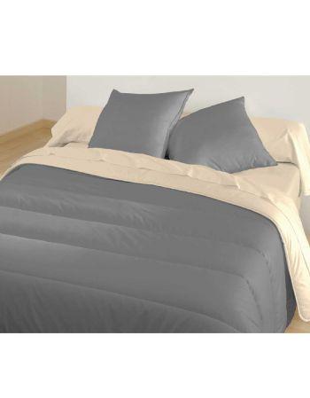 Couette bicolore Graphite/Beige - 140 x 200