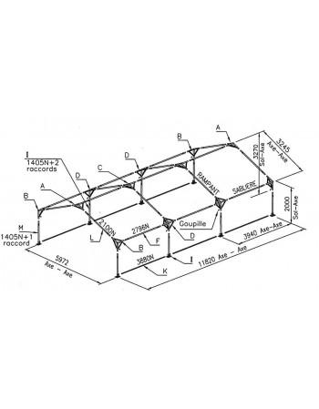 Barnum, tente de réception SUPER PLEIN AIR 6x12 complète - 72 m² - toit blanc