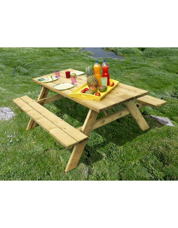 Table de pique nique 8 personnes, table en bois pour