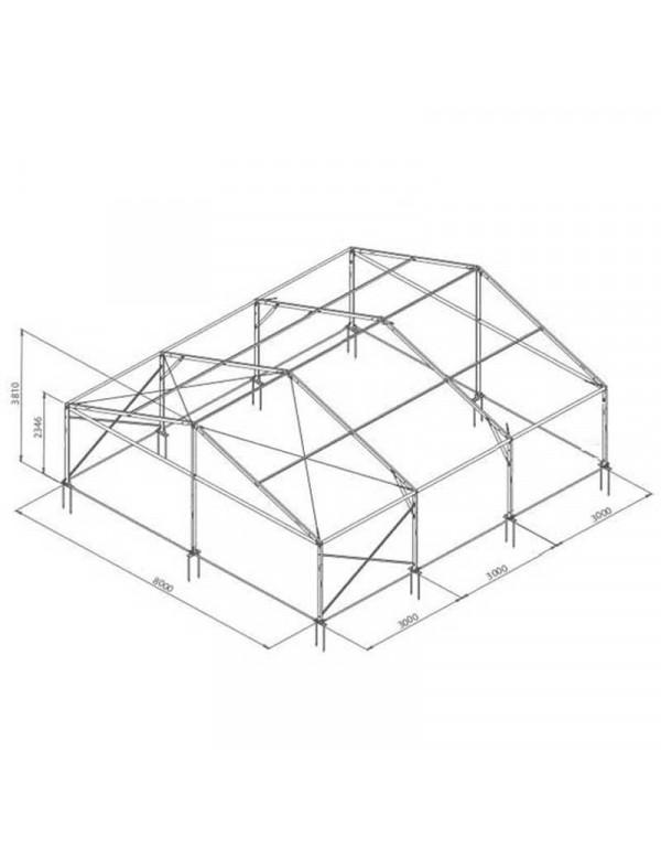 Tente de réception structure Alu 8 x 9 m complète