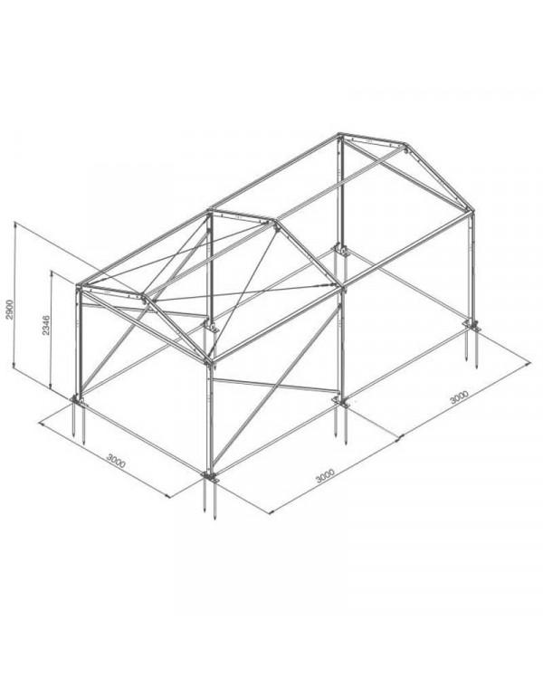 Tente de réception structure Alu 3 x 6 m complète
