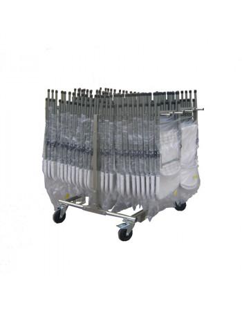 Lot 48 Chaises Polyéthylène M2 non feu accrochable + Chariot