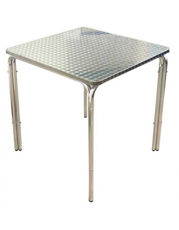 Lot 5 Tables carrées inox 70 x 70 empilables + 10 chaises