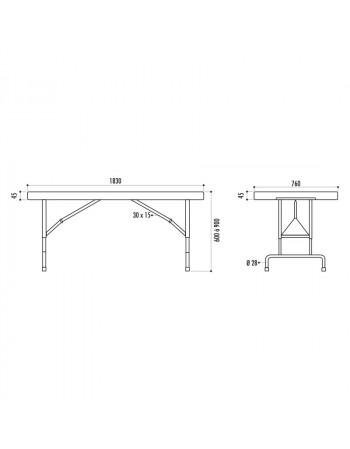 Table Pliante 183 x 76 cm réglable en hauteur